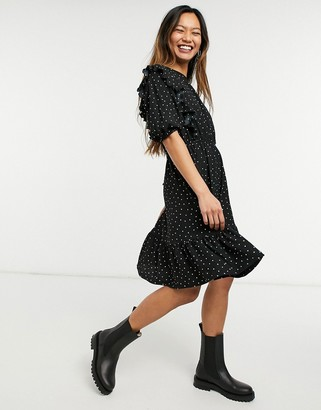 Monki ruffle mini dress in black