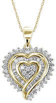 Macy's Diamond Heart Pendant Necklace (1/2 ct. t.w.) in 18k Gold over Sterling Silver