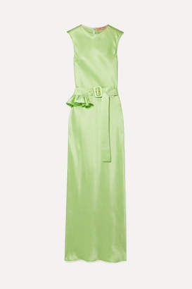 Maggie Marilyn Net Sustain Take A Bite Belted Ruffled Silk Maxi Dress - Lime green