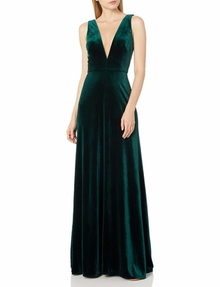 Jenny Yoo Women's Logan Plunging Illusion V Neck Long Velvet Gown
