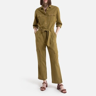 """La Redoute Collections Long-Sleeved Wide Leg Jumpsuit, Length 26"""""""