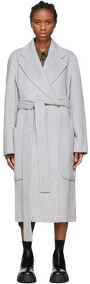 Acne Studios Grey Double Wool Belted Coat