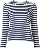 Comme des Garcons Breton stripe logo T-shirt - women - Cotton - S