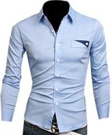 Partiss Mens Casual Long-sleeved Button-down Designer Dress Shirt
