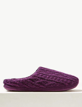 Marks and Spencer Cable Knit Mule Slippers with Memory Foam