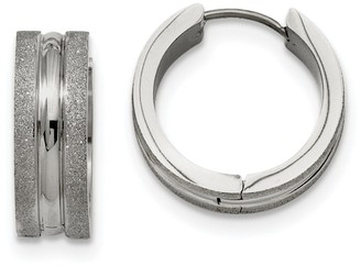 Chisel Stainless Steel Polished and Laser Cut Hinged Hoop Earrings