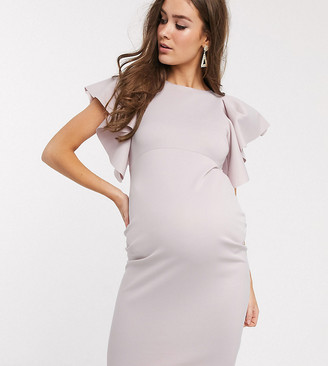 ASOS DESIGN Maternity Exclusive cape sleeve midi dress in pink