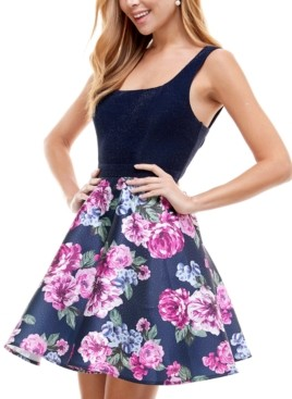 City Studios Juniors' Floral-Skirt Fit & Flare Dress
