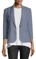 ATM Anthony Thomas Melillo 3/4-Sleeve Jacquard Prep School Jacket, Navy/White