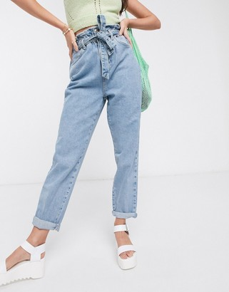 New Look paperbag tie waist jean in light blue
