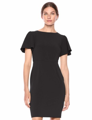 Lark & Ro Fluid Crepe Short Sleeve Flutter Dress Black 16