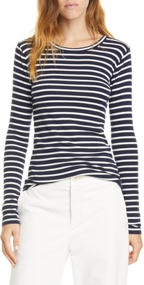 Vince Feeder Stripe Long Sleeve Pima Cotton Blend Top