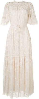 Needle & Thread Floral-Lace Round-Neck Long Dress