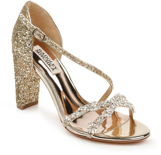 Badgley Mischka Omega II Glitter Block-Heel Sandals
