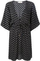 Tory Burch fish print V-neck dress - women - Viscose - M
