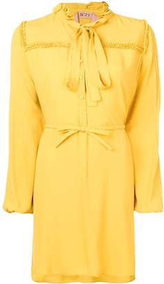 No.21 long-sleeve flared shirt dress