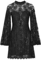 Jenny Packham Embellished Metallic Lace Mini Dress - Black