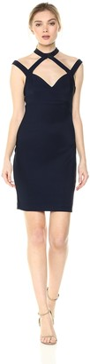 GUESS Women's Shiny Ottoman Fun Neckline Dress