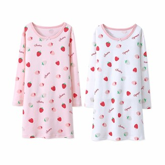 Rshop Uk Girls' Nighties Strawberry Nightgowns 100% Cotton Sleepwear Toddler 3-12 Years (Pink&White 3-4 Years)