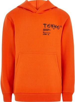 River Island Boys Orange 'Tokyo' printed hoodie
