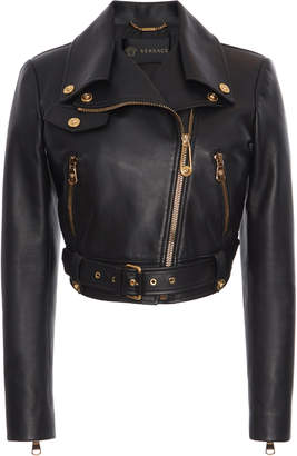 Versace Cropped Leather Biker Jacket