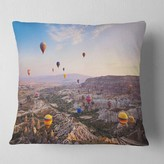 "Photography Hot Air Balloon Flying Pillow East Urban Home Size: 16"" x 16"", Product Type: Throw Pillow"