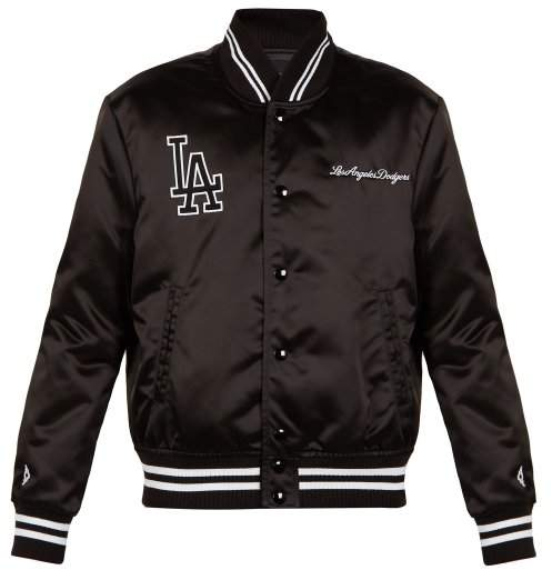 Marcelo Burlon County of Milan L.a. Dodgers Embroidered Bomber Jacket - Mens - Black