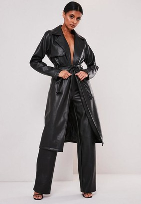 Missguided Black Faux Leather Trench Coat