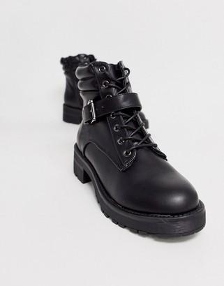 New Look flat hiker boots in black