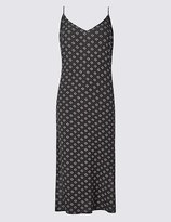 Marks and Spencer Geometric Print Side Split Slip Midi Dress