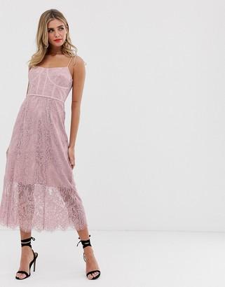 Keepsake sense lace midi dress with corset detail-Pink