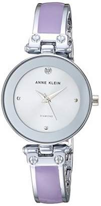 Anne Klein Women's AK/1981LVSV Swarovski Crystal Accented Silver-Tone and Lavender Bangle Watch
