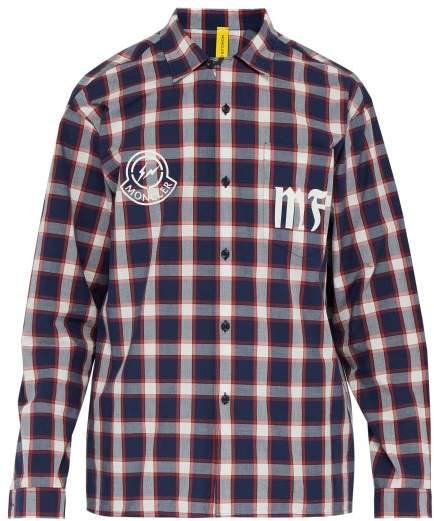 8a4b4f610 7 Fragment - Logo Print Checked Cotton Shirt - Mens - Red Multi