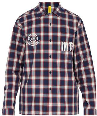 Moncler 7 Fragment - Logo-print Checked Cotton Shirt - Mens - Red Multi
