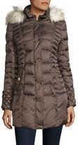 Betsey Johnson Faux Fur-Trimmed Puffer Coat