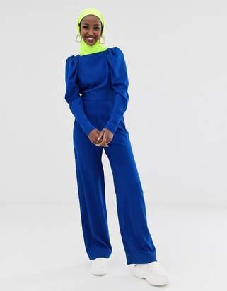 Asos Design DESIGN long sleeve square neck wrap jumpsuit-Blue