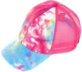 C.C Women's Baseball Caps HOTPINK - Hot Pink & Blue Tie-Dye Ponytail Trucker Hat
