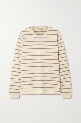 Acne Studios Appliqued Striped Cotton-jersey T-shirt - Beige
