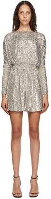 Saint Laurent Silver Sequin Mini Dress