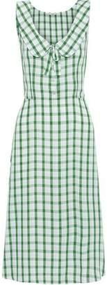 Miu Miu Bow-detailed Gingham Broadcloth Dress