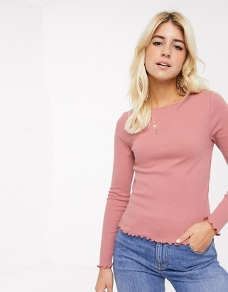 New Look babylock long sleeve top in mid pink