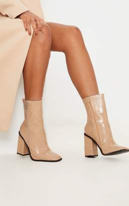 PrettyLittleThing Nude Square Toe Chunky Block Heel Ankle Boot