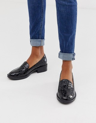 Raid Kiara black patent croc effect loafers