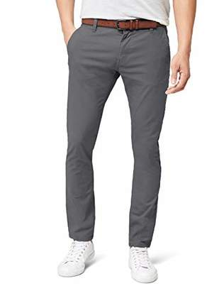 Tom Tailor Men's solid skinny chino with belt Trouser, Blue (blue grey), (Manufacturer size: 29)