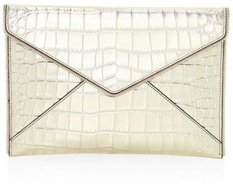 Rebecca Minkoff Leo Croc-Embossed Metallic Leather Envelope Clutch