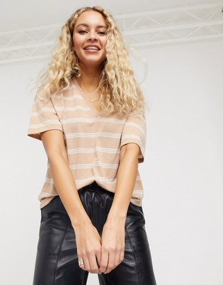 Asos DESIGN t-shirt with v-neck in linen mix in sand with stripe