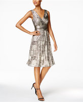 Connected Metallic-Print A-Line Dress