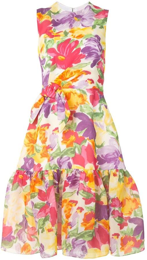 Carolina Herrera Sleeveless Knot Detail Midi Dress