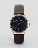 Ted Baker Classic Brown Leather Watch With Rose Gold/Black Dial