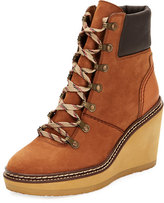 See by Chloe Lace-Up Leather Hiker Wedge Boot, Medium Brown